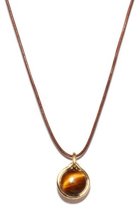 Fernando Jorge Tiger Eye, 18kt Gold And Leather Pendant Necklace - Yellow Gold