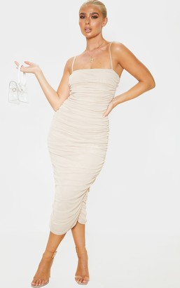Denovo Nude Strappy Mesh Ruched Midaxi Dress
