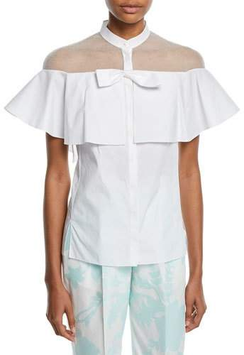 DELPOZO Short-Sleeve Tulle-Inset Cape Cotton Blouse