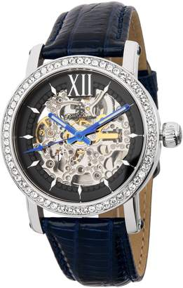 Burgmeister Ladies Automatic Watch with Silver Dial Analogue Display and Blue Leather Strap BM158-103