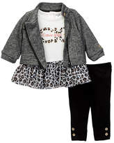 Calvin Klein Animal Print Mesh Bottom Tunic, Jacket & Legging Set (Baby Girls)