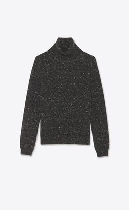 Saint Laurent Turtleneck Sweater In Flecked Wool And Cashmere Anthracite L