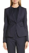 BOSS Jaxtina Stretch Wool Pinstripe Jacket