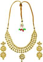 Bamboo Indian Traditional Necklace Set With Earrings Indian Bridal Jewelry Gold Tone Kundan Necklace Set