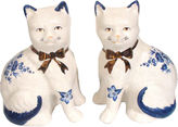 One Kings Lane Vintage English Mantel Cat Figurines, S/2