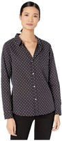 True Grit Dylan By Dylan by Crisp Classic-Chic Dot Button-Up Blouse (Black) Women's Clothing