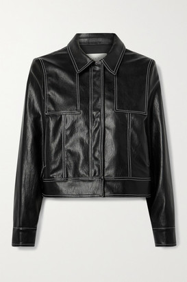 LVIR Topstitched Faux Leather Jacket - Black