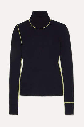 Maison Margiela Embroidered Ribbed Wool Turtleneck Sweater - Navy
