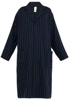 Marrakshi Life - Striped Cotton-blend Lab Coat - Mens - Black Navy