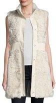 Pologeorgis Lamb Leather-Trim Vest, White