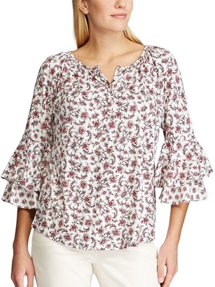 Chaps Women's Floral Ruffle Sleeve Blouse