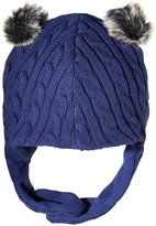 Magnificent Baby Magnetic Navy Cable Knit Aviator Cap (Baby) - Blue - 0-6 Months