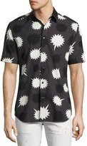 Diesel Pow Print Short-Sleeve Sport Shirt, Black