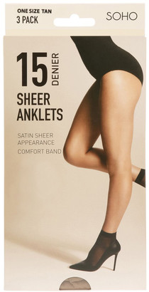 S.O.H.O New York 15D Sheer Anklets 3 Pack