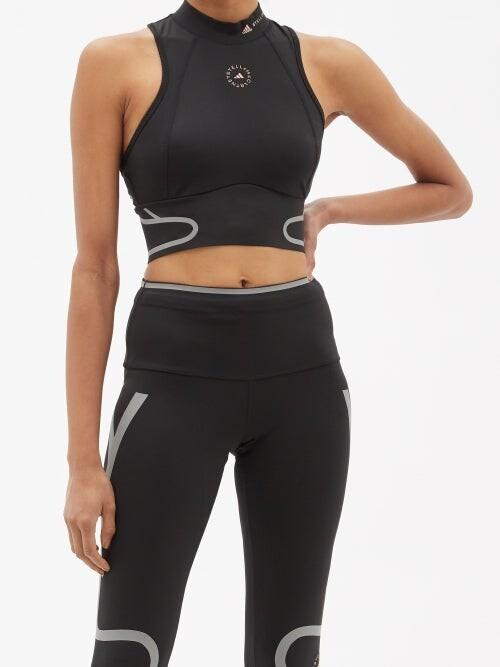 Thumbnail for your product : adidas by Stella McCartney Truepace High-neck Recycled Fibre Blend Top - Black