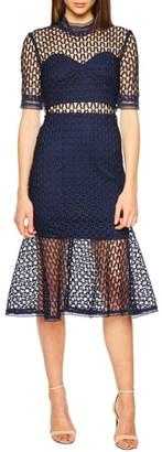 Bardot Fiona Mesh Lace Trumpet Dress