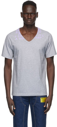 Maison Margiela Grey Cotton V-Neck T-Shirt