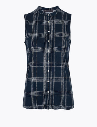 Marks and Spencer Jersey Checked Sleeveless Shirt