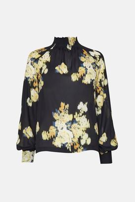 Karen Millen Blurred Floral Long Sleeve Blouse