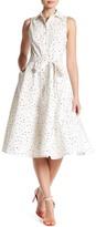 Chetta B Bird Print Fit & Flare Shirt Dress