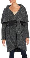 Badgley Mischka Sloan Leather-Trimmed Wrap Coat