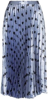 HVN Tracey pleated cherry print midi skirt