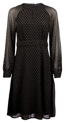 Dorothy Perkins Womens Black Printed Dobby Chiffon Fit And Flare Dress, Black