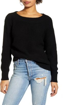 Leith Shaker Stitch Ballet Neck Sweater
