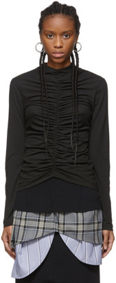 Edit Black Ruched High Neck T-Shirt