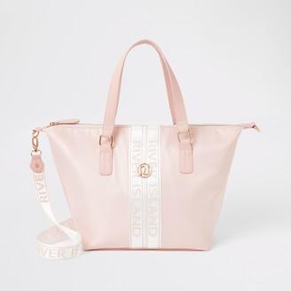 River Island Girls Pink RI tape shopper tote bag