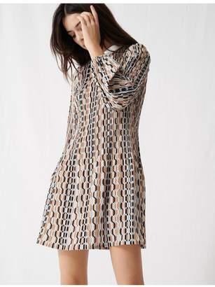 Maje Printed Pleated Dress, Peter Pan Collar