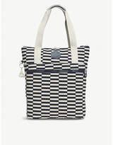 Kipling Realfun A4 nylon striped shoulder tote bag/backpack