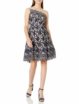 London Times Women's Sleeveless Lace Fit & Flare Dress w. Illusion Neckline