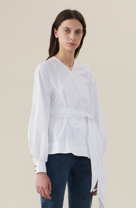 Ganni Cotton Poplin Wrap Shirt