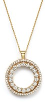 """Roberto Coin 18K Yellow Gold Double Sided Circle Pendant Necklace with White and Cognac Diamonds, 16"""""""