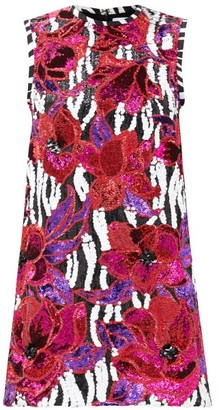 Halpern Floral And Zebra-sequinned Mini Shift Dress - Multi