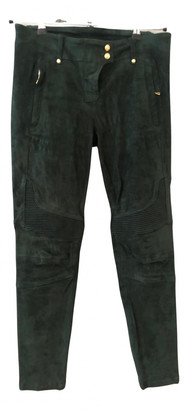 Balmain For H&m Green Suede Trousers