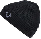 True Religion Men's Brand Jeans Rib Knit Cap - Black