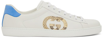 Gucci White and Blue New Ace Low-Top Sneakers