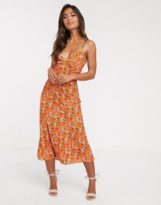 Finders Keepers bloom midi slip dress with contrast lace up back