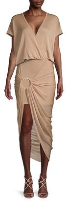 Balmain Hooded Draped Pareo-Effect Dress