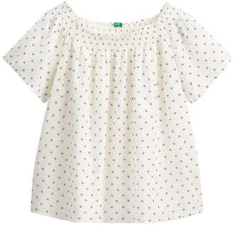 Benetton Printed Cotton Off-The-Shoulder Blouse with Smocked Detail