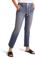 NYDJ Sheri Drawstring High Waist Fray Hem Ankle Slim Jeans