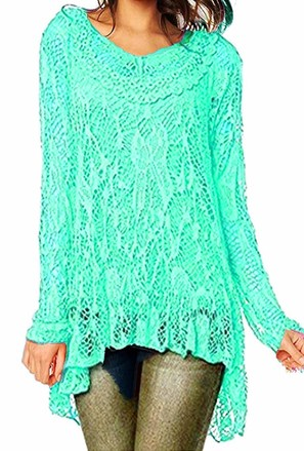Celeb Look R33 Celebmodelook New Womens Ladies Dip Hem Crochet Mesh Tunic Plus Size Dress Vest TwinTop Purple
