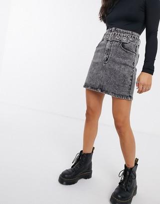 Signature 8 high waist denim skirt with belt
