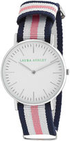 Laura Ashley Ladies Blue White And Pink Knitted Colored Band With Silver Ultra-Thin Case Watch La31016Pk