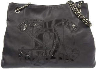 Chanel Black Lambskin Leather Vintage Chain Tote