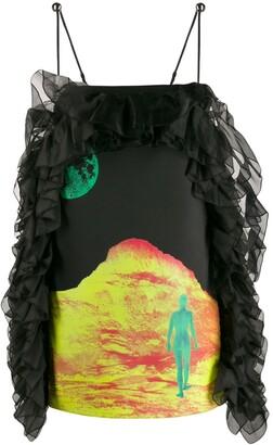 Christopher Kane Mountain Lady satin frill dress