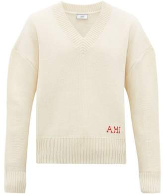 Ami Oversized Logo Embroidered Wool Sweater - Mens - Cream