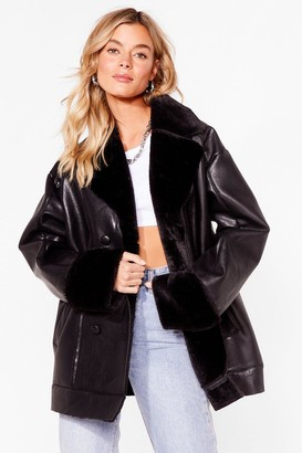 Nasty Gal Womens Always Here Faux Fur You Faux Leather Jacket - Black - 4